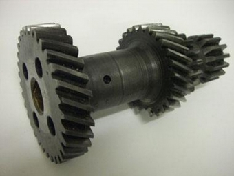 Helical and spur gears on shaft - view 3